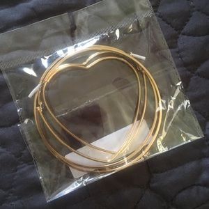 Brand New Heart Gold Hoops